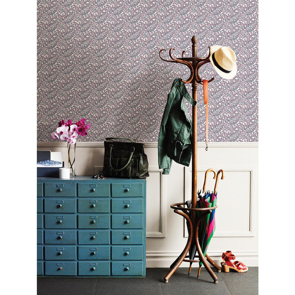 A-Street 56 sq. ft. Adrian Plum Paisley Wallpaper-2657-22213 - The Home