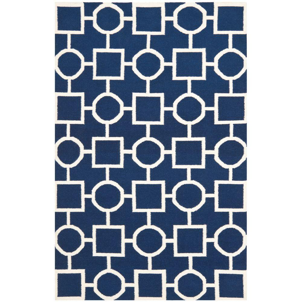Dhurries Navy/Ivory 3 ft. x 5 ft. Area Rug
