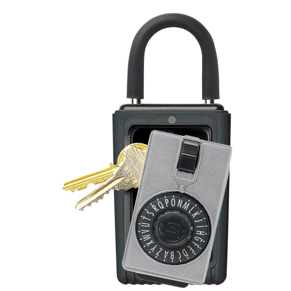 Portable 3-Key Box with Spin Dial Combination Lock, Titanium