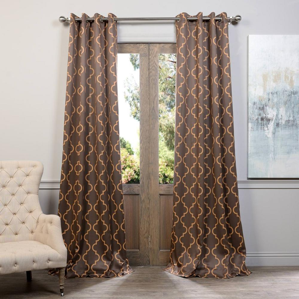 Seville Grey and Gold Grommet Blackout Curtain - 50 in. W