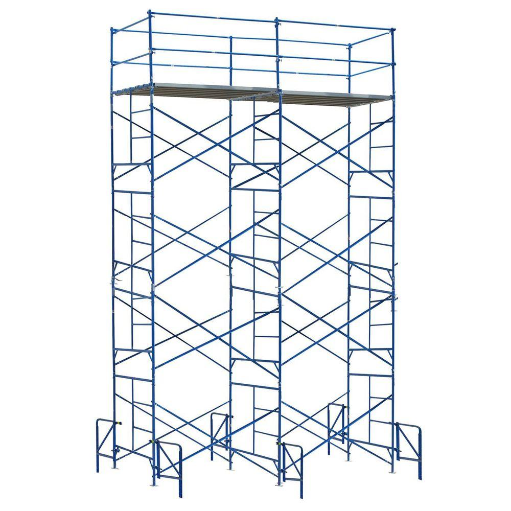 PRO-SERIES 20 ft. x 14 ft. x 5 ft. 4-Story Commercial Grade Scaffolding Set Guard Rail System and Outriggers-DISCONTINUED