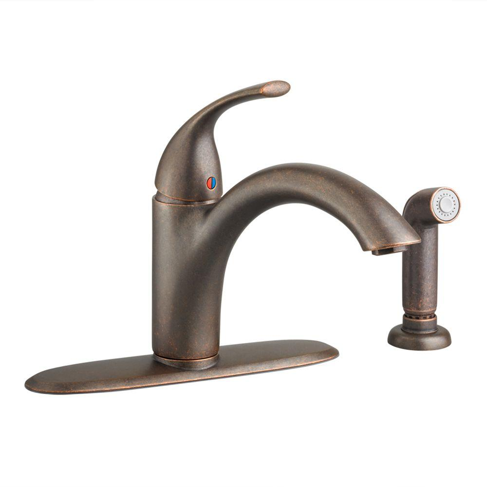 Quince Single-Handle Standard Kitchen Faucet with Side Sprayer in Oil Rubbed