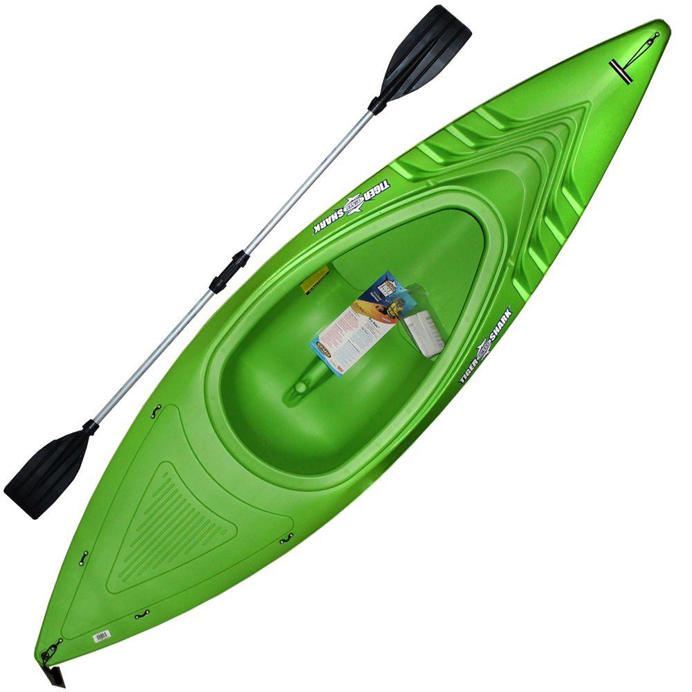 Emsco 9 ft. 250 lb. Green Shark Kayak with Deluxe Sport Paddles
