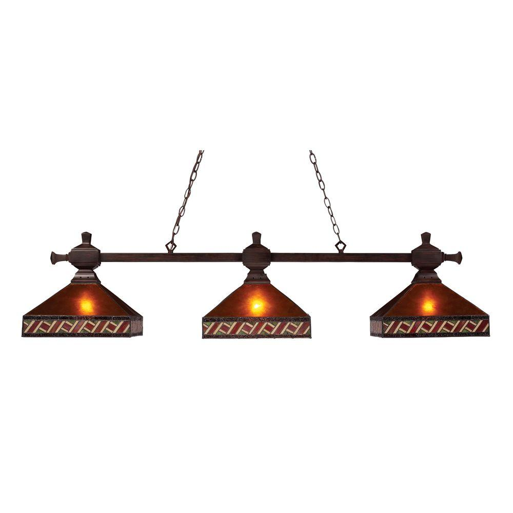 Pool Table Light Projector: Titan Lighting Farmhouse 2-Light Oiled Bronze Ceiling
