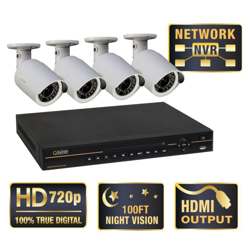 Q-SEE Platinum Series Wired 8-Channel 1TB Network Video Recorder with 4 HD 720p Indoor/Outdoor IP Cameras-DISCONTINUED