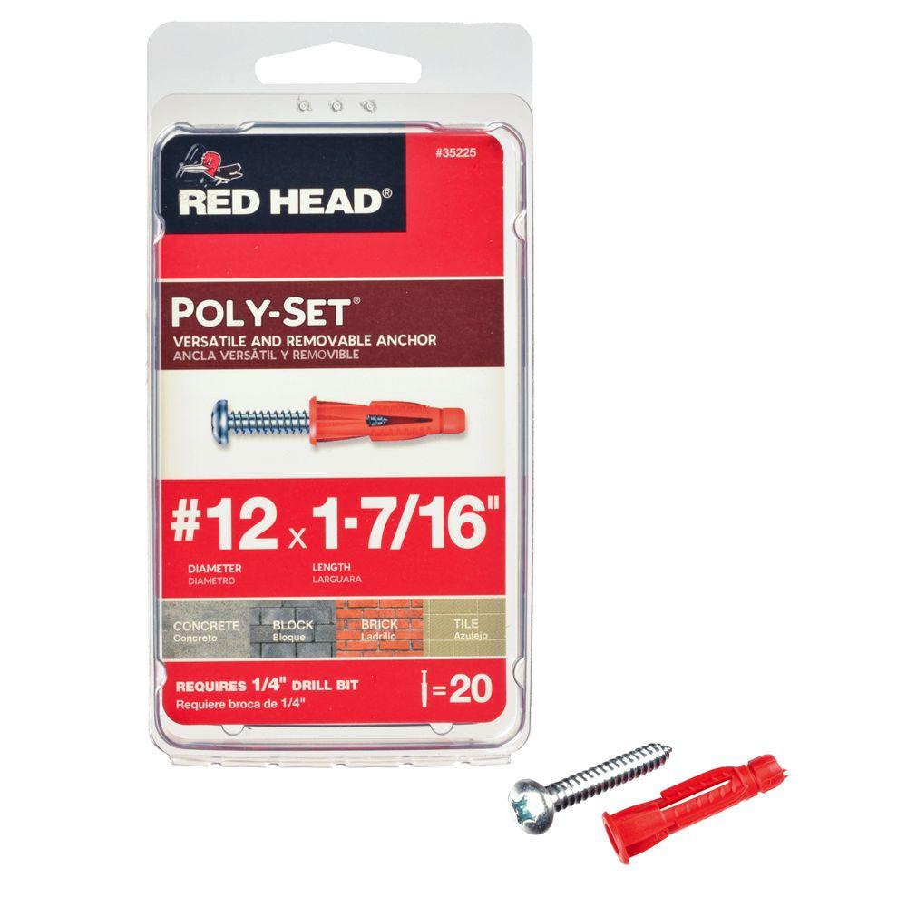 Red Head #12 x 1-1/2 in. x 1-7/16 in. Poly-Set Plastic Anchors with Screws (20-Pack)