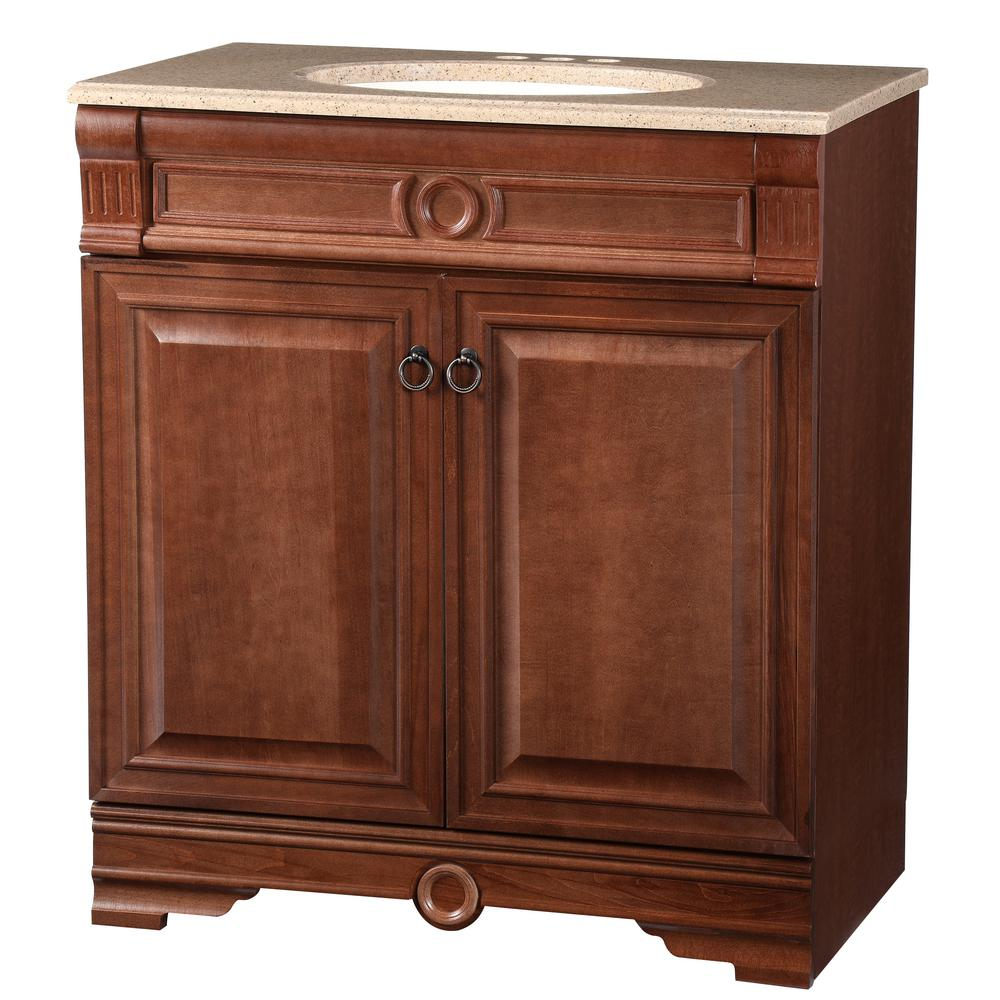 Bradford 30.5 in. W Bath Vanity in Cognac with Solid Surface