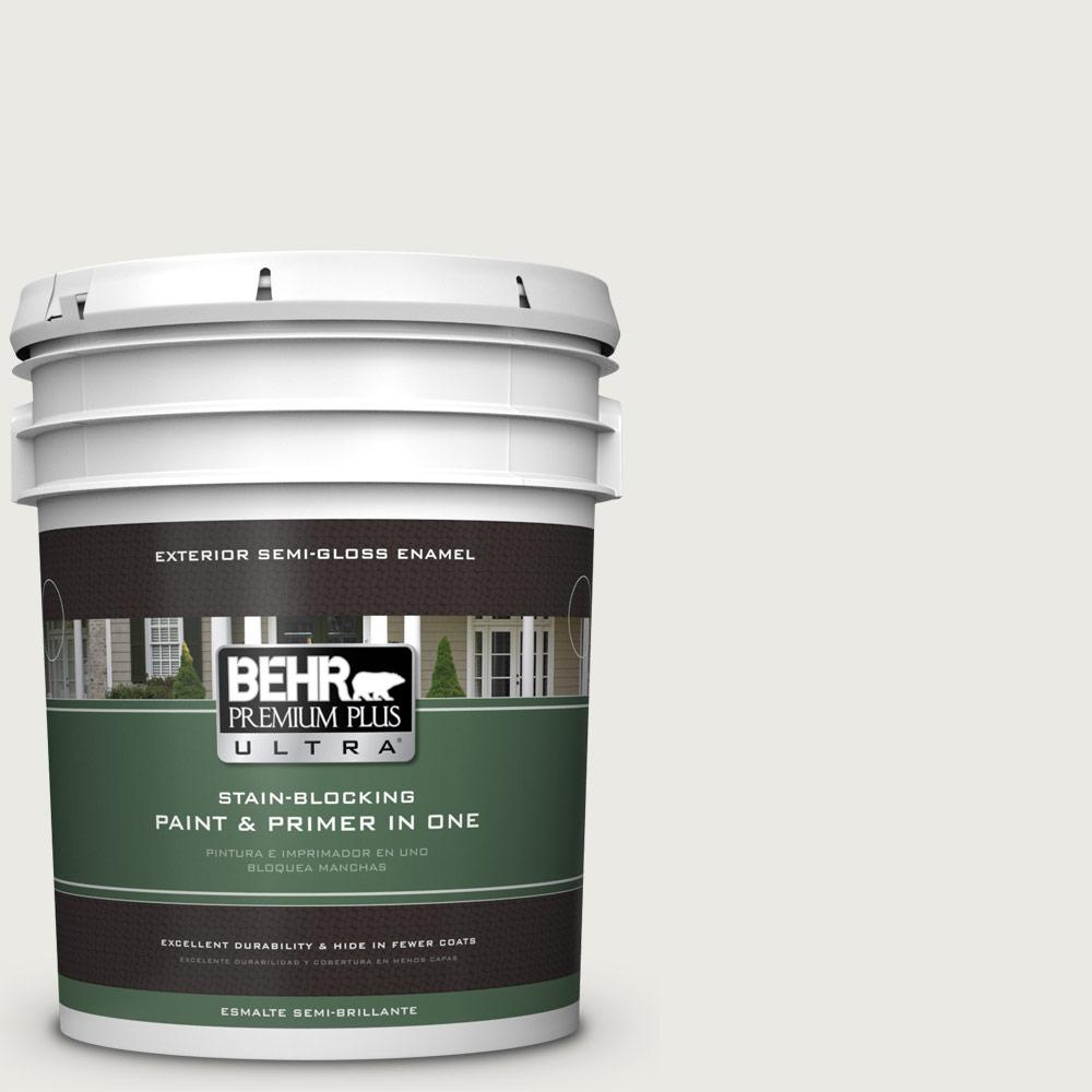 5 gal. #PPU24-14 White Moderne Semi-Gloss Enamel Exterior Paint
