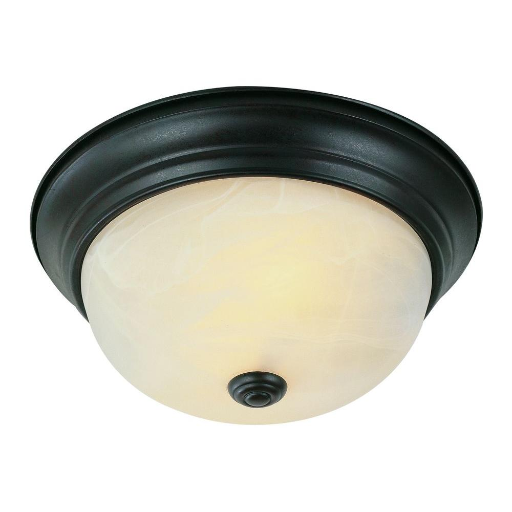 Bel Air Lighting Cabernet Collection 2-Light Oiled Bronze Flushmount with White Marbleized Shade