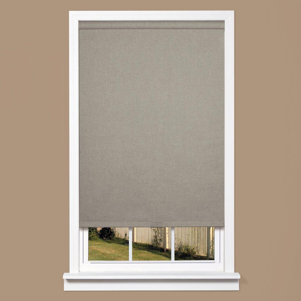 homeBASICS Grey Linen-Look Thermal Fabric Cordless Roller Shade - 35 in.
