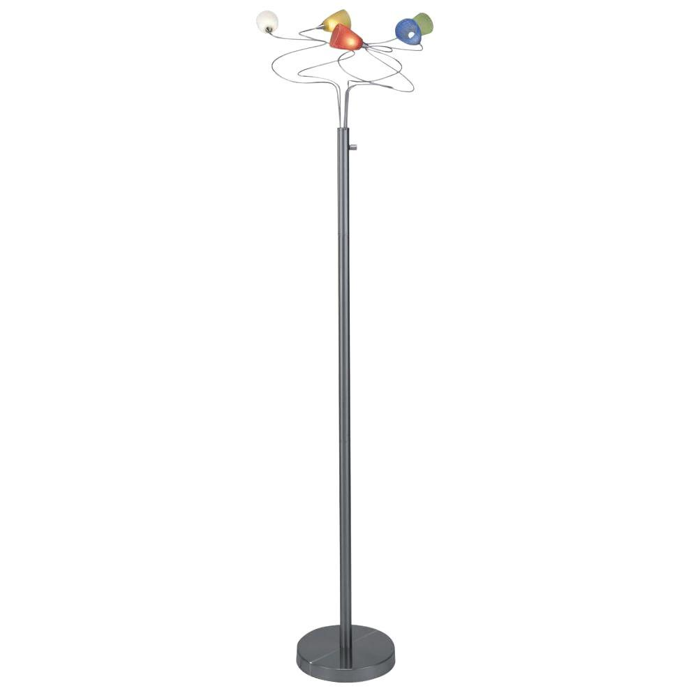 Illumine 65 in. Polished Steel Floor Lamp with Crackled Multi-Colored Glass