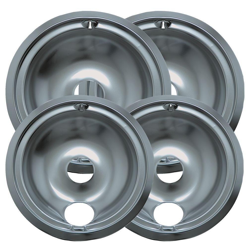 Range Kleen 6 in. 2-Small and 8 in. 2-Large B Style Drip Pan in Chrome (4-Pack)