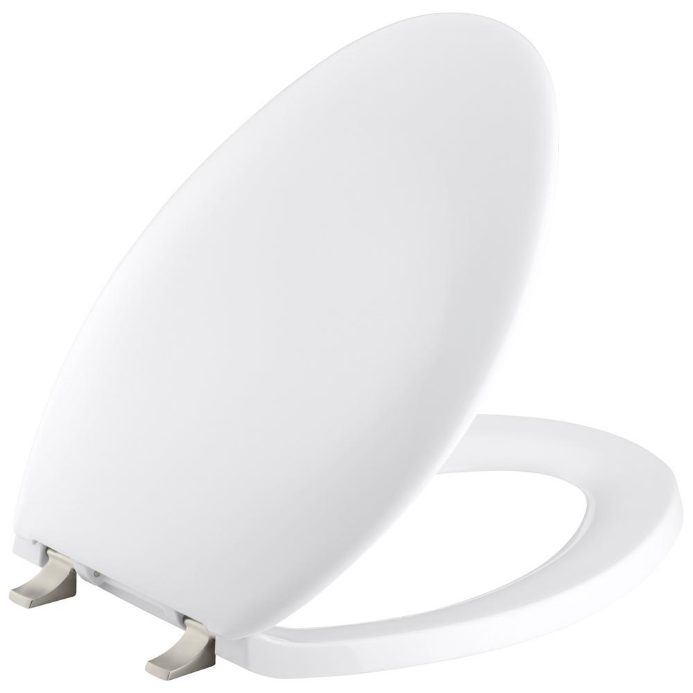 Bancroft Elongated Toilet Seat with Vibrant Brushed Nickel Hinge in White