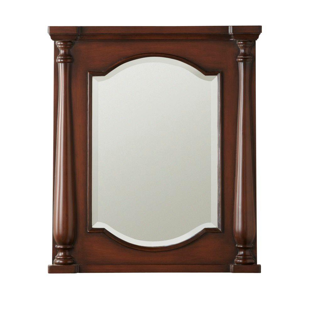 Home Decorators Collection Balstrade 32 in. L x 27 in. W Framed Wall Mirror in Brown-DISCONTINUED