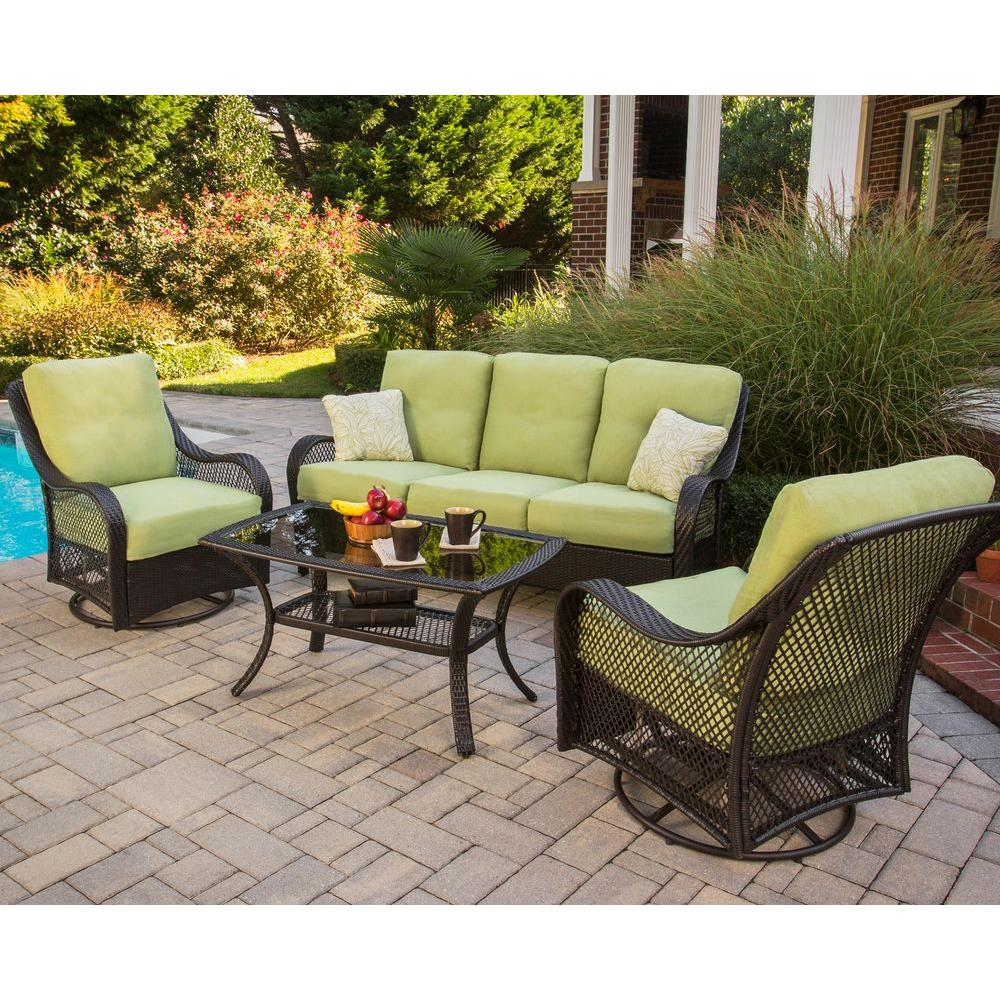 patio couch set orleans  piece patio seating set with avacado cushions