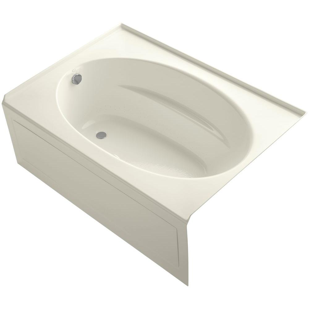 KOHLER Windward 5 ft. Acrylic Left-Hand Drain Rectangular Apron-Front Whirlpool Bathtub in Biscuit