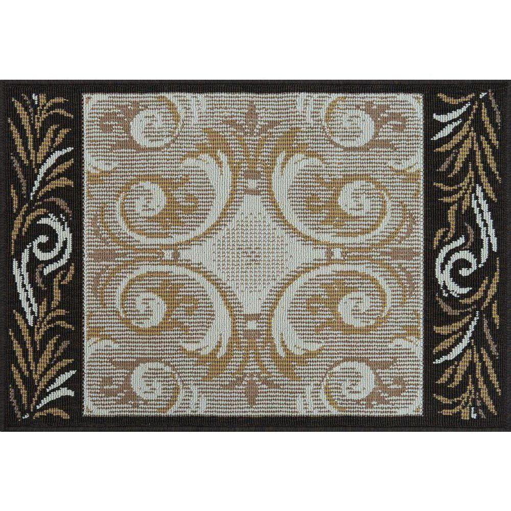 Loloi Rugs Augusta Lifestyle Collection Ivory Brown 1 ft. 9 in. x 2 ft. 9 in. Accent Rug-DISCONTINUED