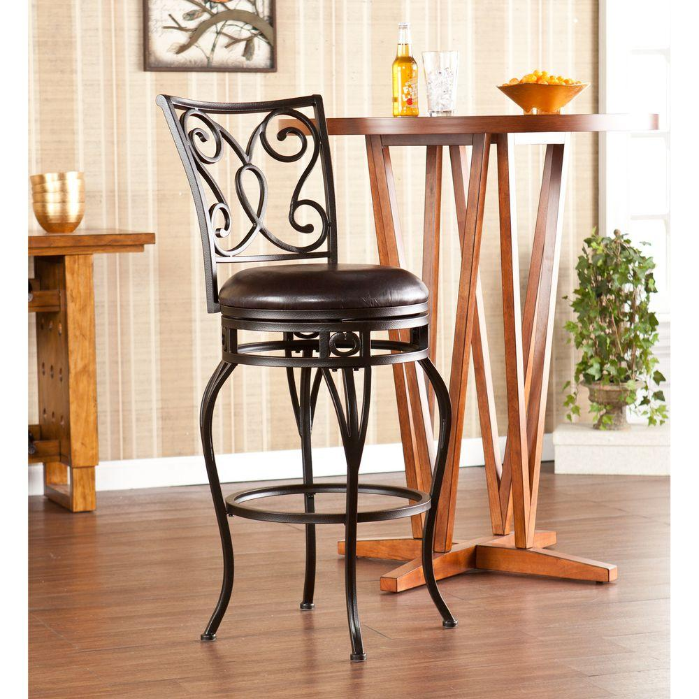 Southern Enterprises Gabriel Swivel Bar Stool in Brown-HD864341 - The Home