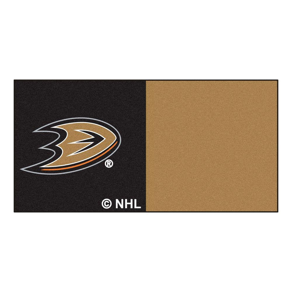 FANMATS NHL - Anaheim Ducks Black and Brown Pattern 18 in. x 18 in. Carpet Tile (20 Tiles/Case)