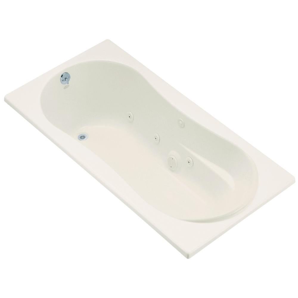 ProFlex 6 ft. Acrylic Oval Drop-in Whirlpool Bathtub in Biscuit