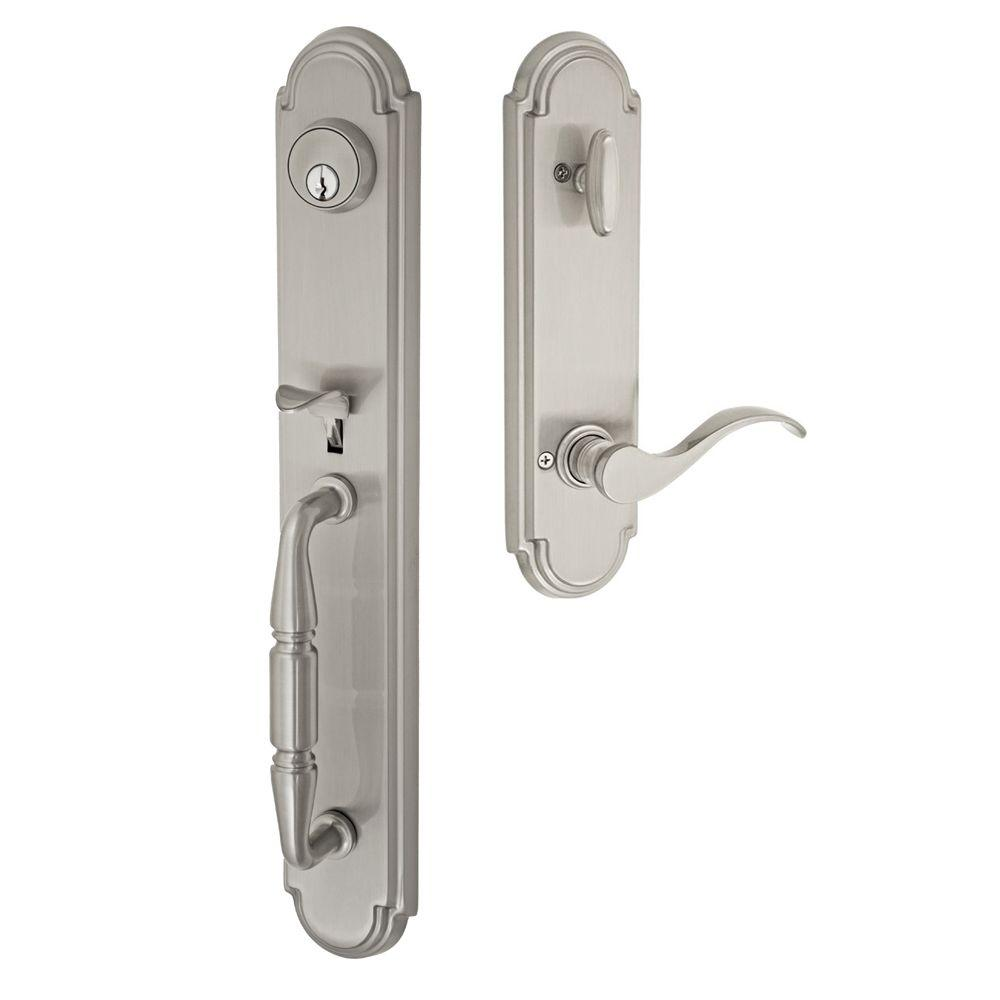 Brushed Nickel Ravinia Interconnect Interior Handle Set with Virginia Left