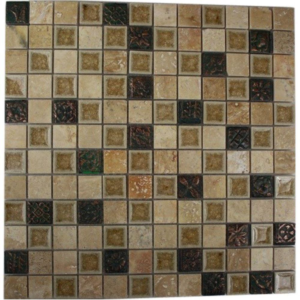 Splashback Tile Roman Selection Side Saddle with Deco 12 in. x 12 in. x 8 mm Glass Mosaic Floor and Wall Tile
