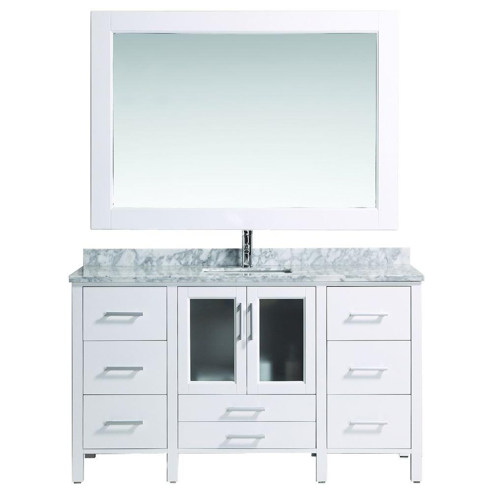 Design Element Stanton 60 in. W x 22 in. D Vanity in White with Marble Vanity Top and Mirror in White