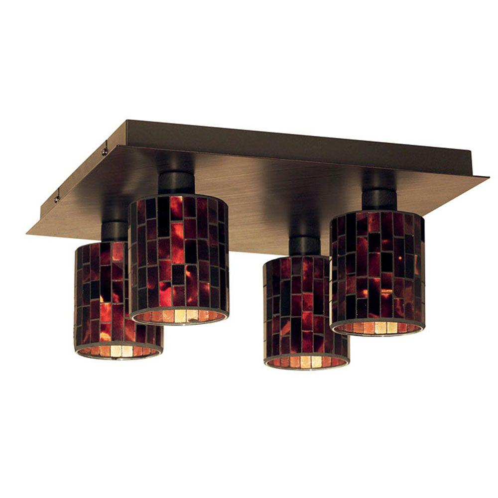 Eglo Troya 4-Light Antique Brown Ceiling Light with Mosaic Glass-DISCONTINUED