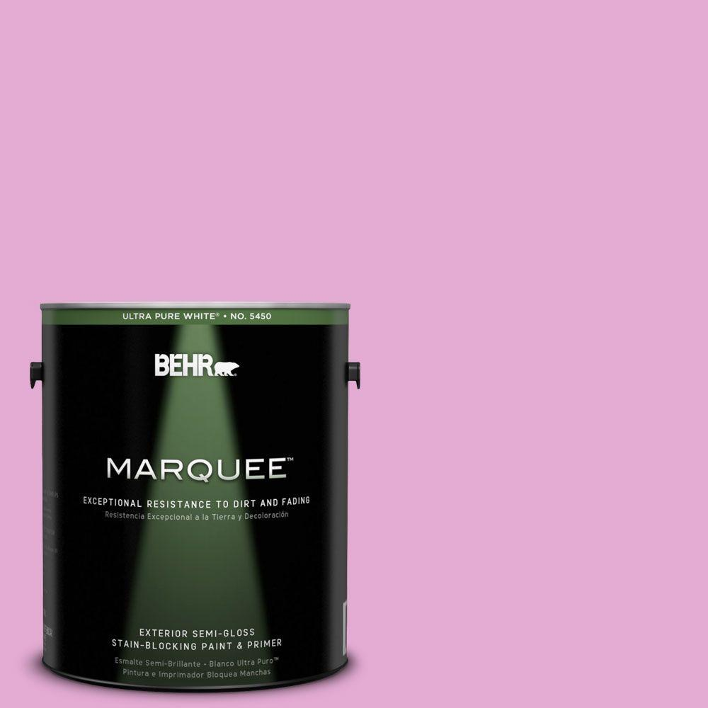 BEHR MARQUEE 1-gal. #680A-3 Pink Bliss Semi-Gloss Enamel Exterior Paint-545401 -