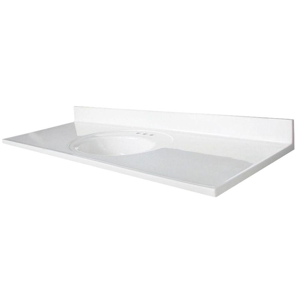 Glacier Bay Newport 61 in. Marble Vanity Top with Basin in White