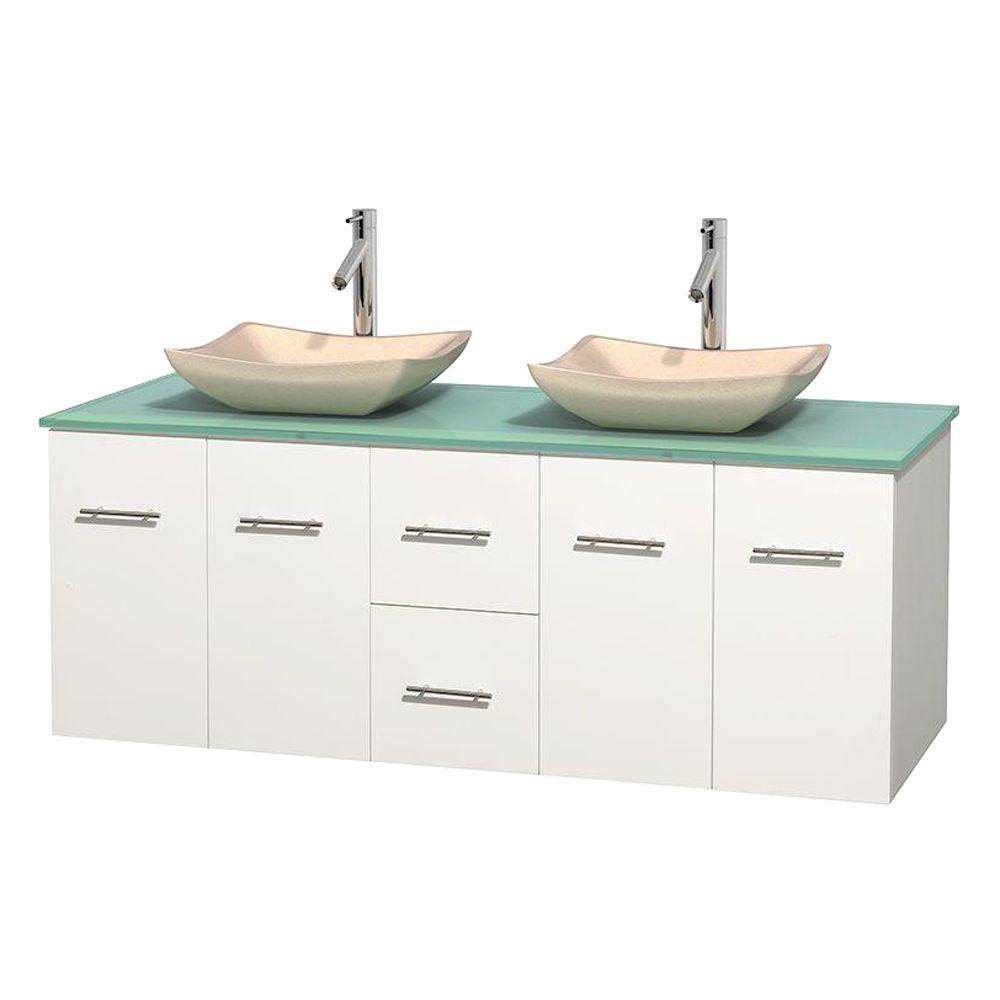 Centra 60 in. Double Vanity in White with Glass Vanity Top