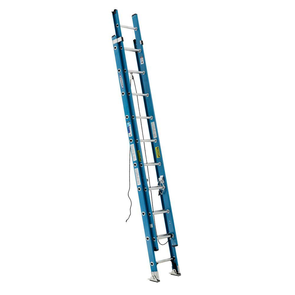 Werner 20 ft. Fiberglass Extension Ladder with 250 lb. Load Capacity