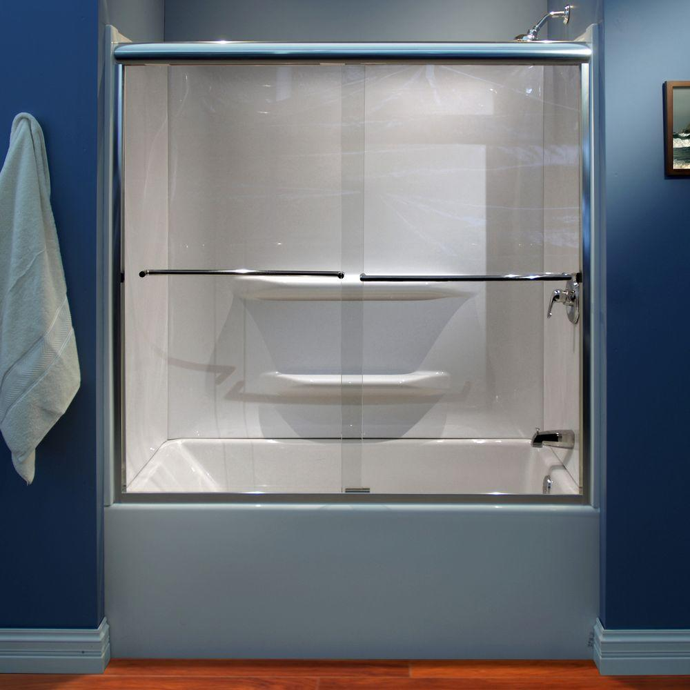 null Lyons Industries 59 in. x 59 in. Semi-Framed Sliding Bypass Tub/Shower Door in Silver and Clear Glass
