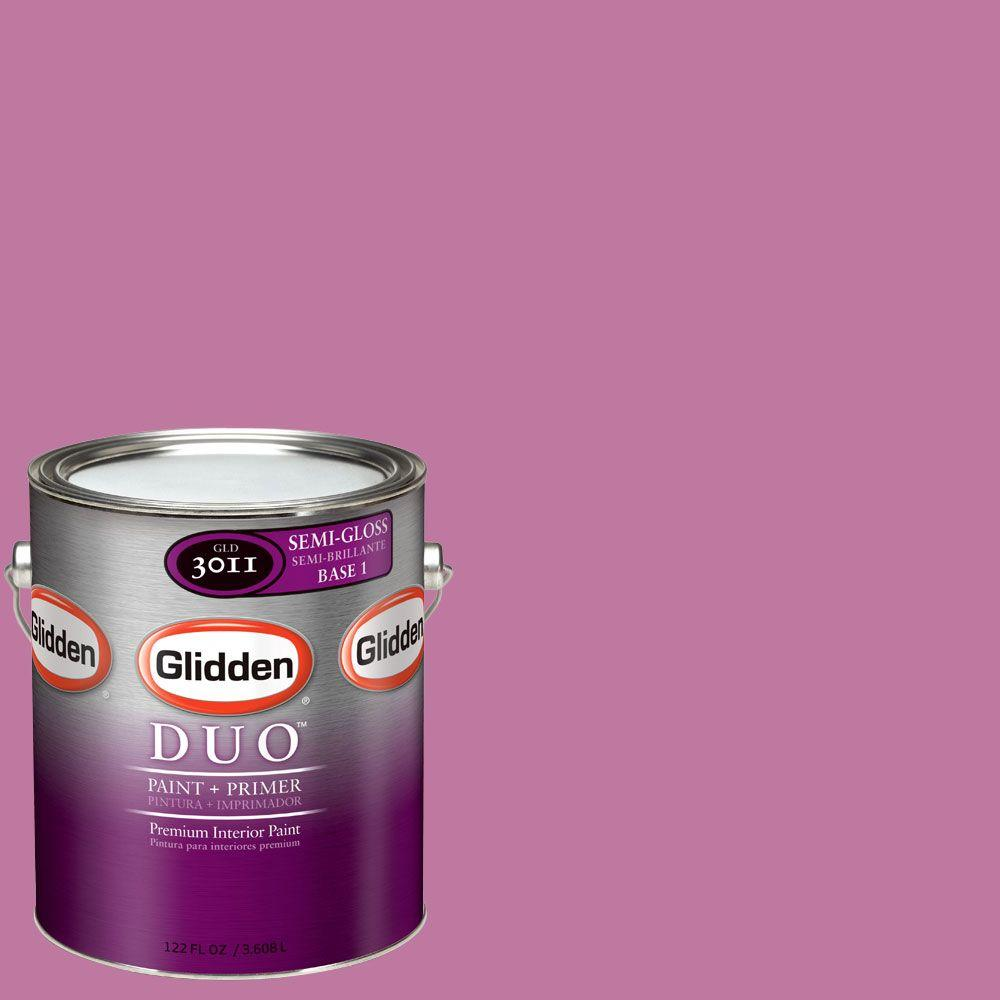 Glidden DUO 1-gal. #GLR07 Blooming Fuchsia Semi-Gloss Interior Paint with Primer