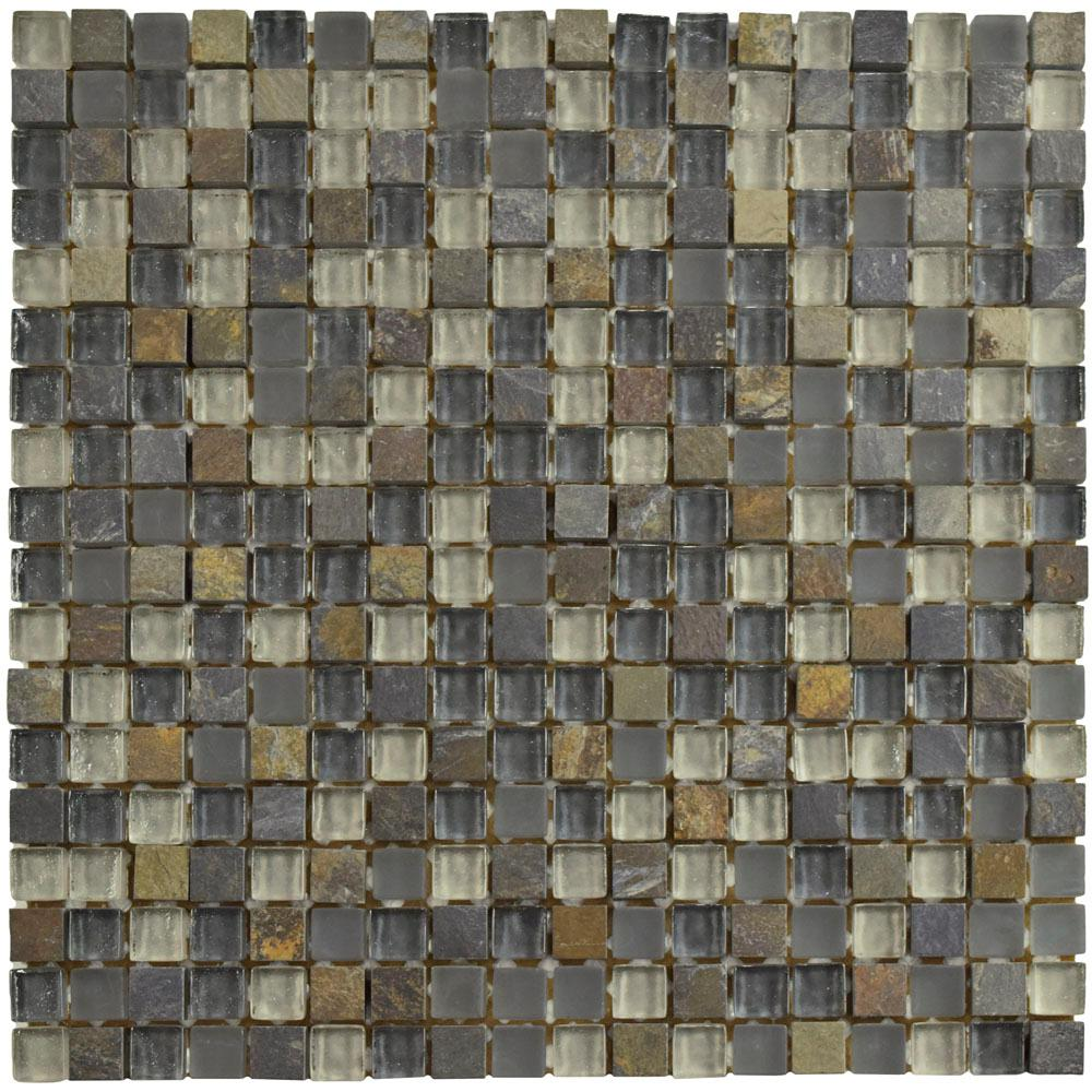 Merola Tile Tessera Mini Wisp 11-3/4 in. x 11-3/4 in. x 8 mm Glass and Stone Mosaic Tile, Multicolored Grey/Mixed Finish