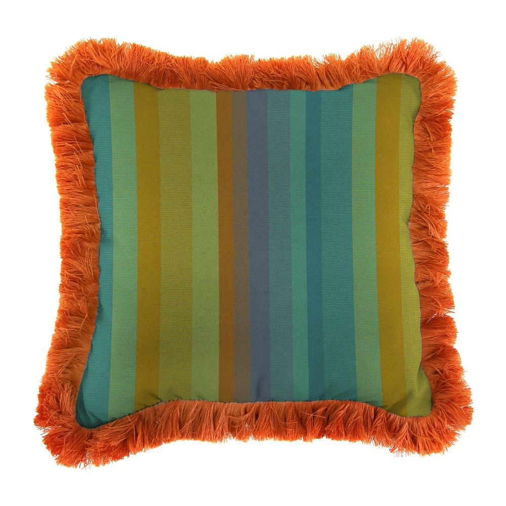 Sunbrella Astoria Lagoon Square Outdoor Throw Pillow with Tuscan Fringe