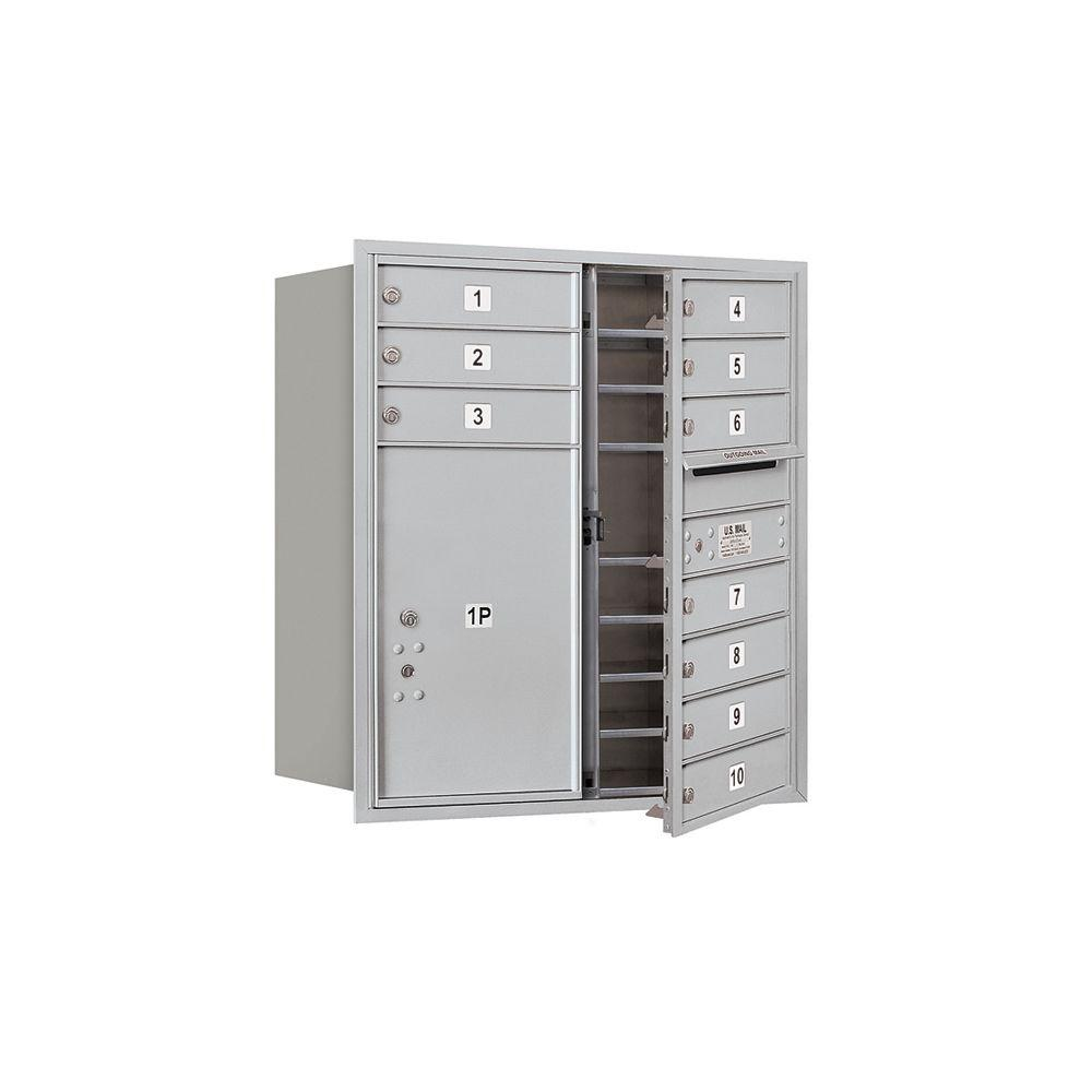 Salsbury Industries 3700 Series 34 in. 9 Door High Unit Aluminum USPS Front Loading 4C Horizontal Mailbox with 10 MB1 Doors/1 PL6