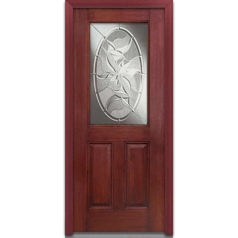 Milliken Millwork 36 in. x 80 in. Lasting Impressions Decorative Glass 1/2 Lite 2-Panel Finished Mahogany Fiberglass Prehung Front Door