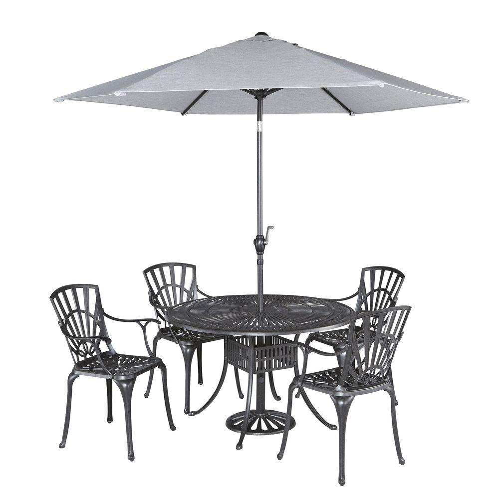 Home Styles Largo 42 in. 5-Piece Patio Dining Set with Umbrella-5560-3086