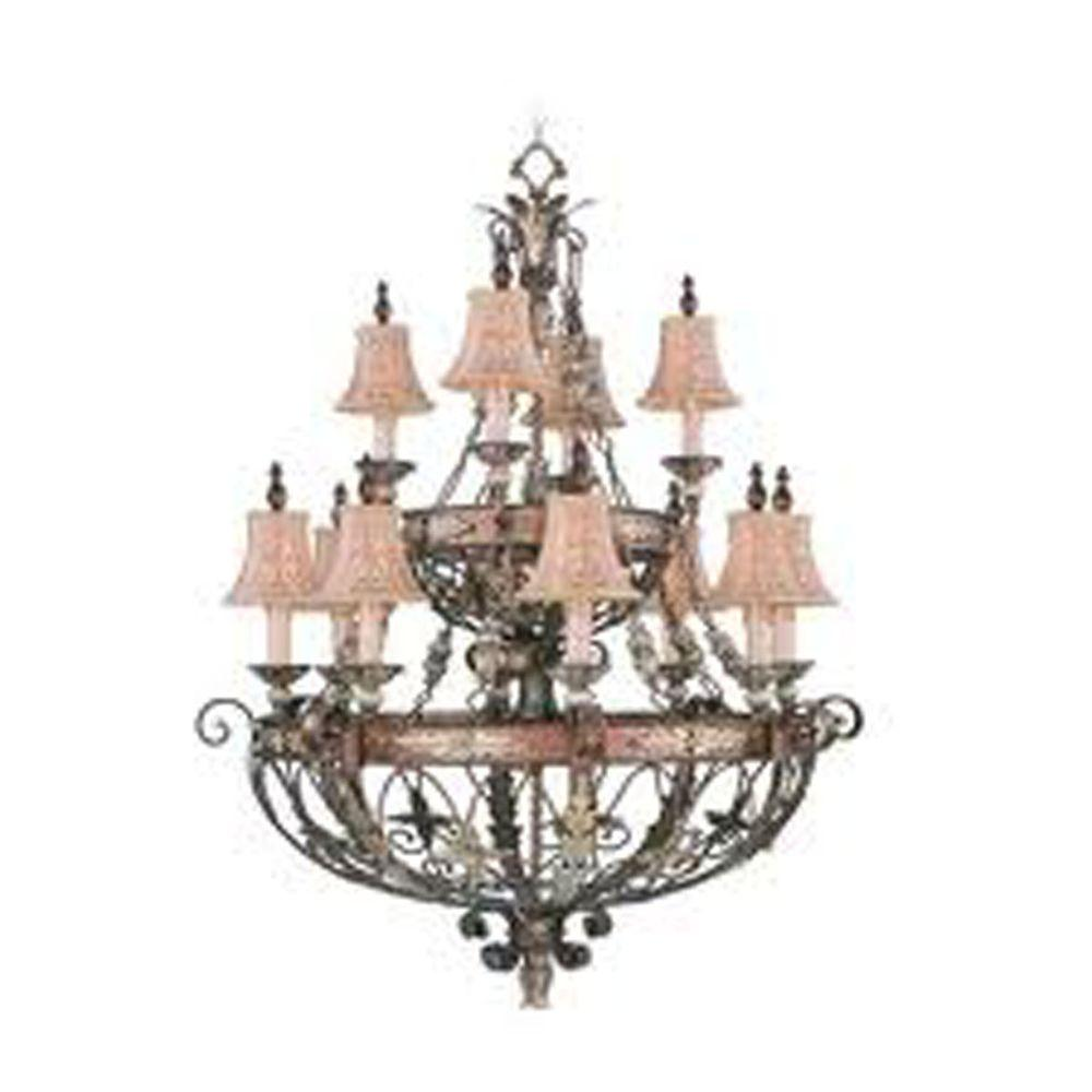 12-Light Palatial Bronze Incandescent Ceiling Chandelier with Gilded Accents