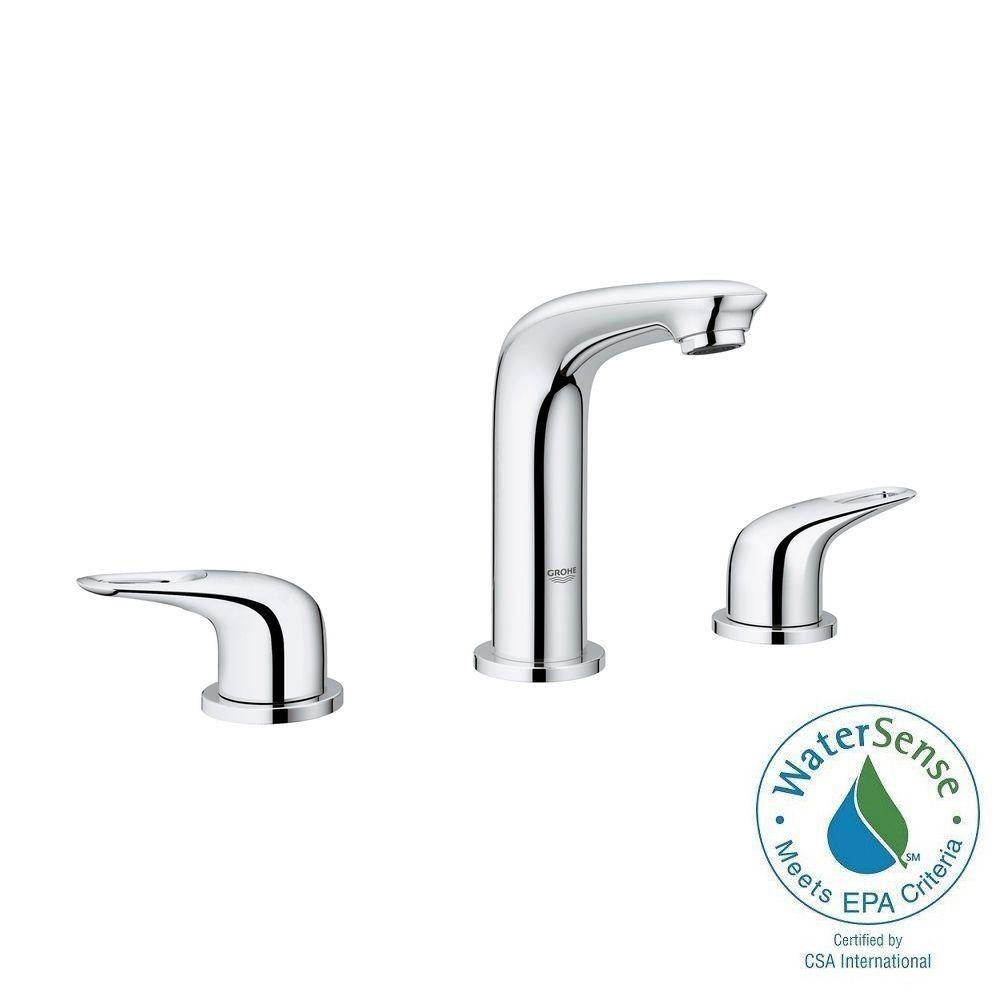 GROHE Eurostyle 8 in. Widespread 2-Handle Bathroom Faucet in StarLight