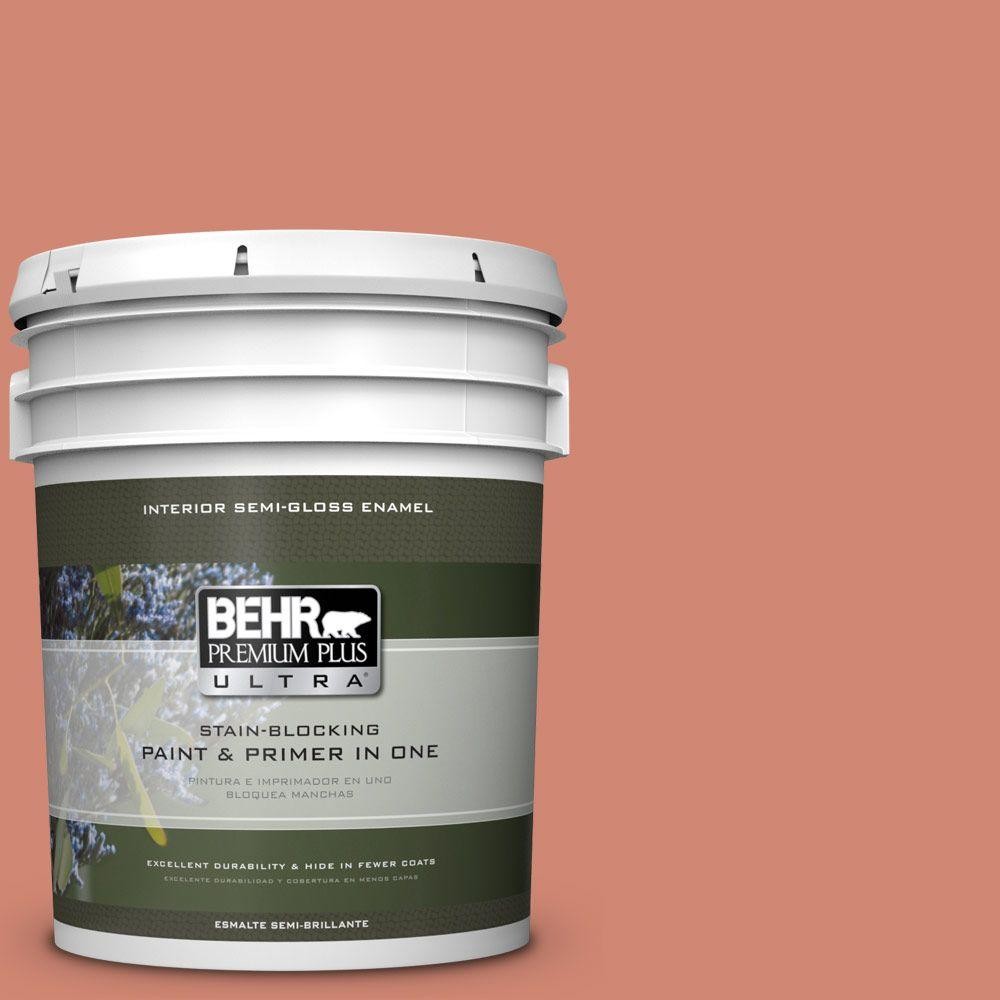 5 gal. #HDC-WR16-02 Rosy Copper Semi-Gloss Enamel Interior Paint
