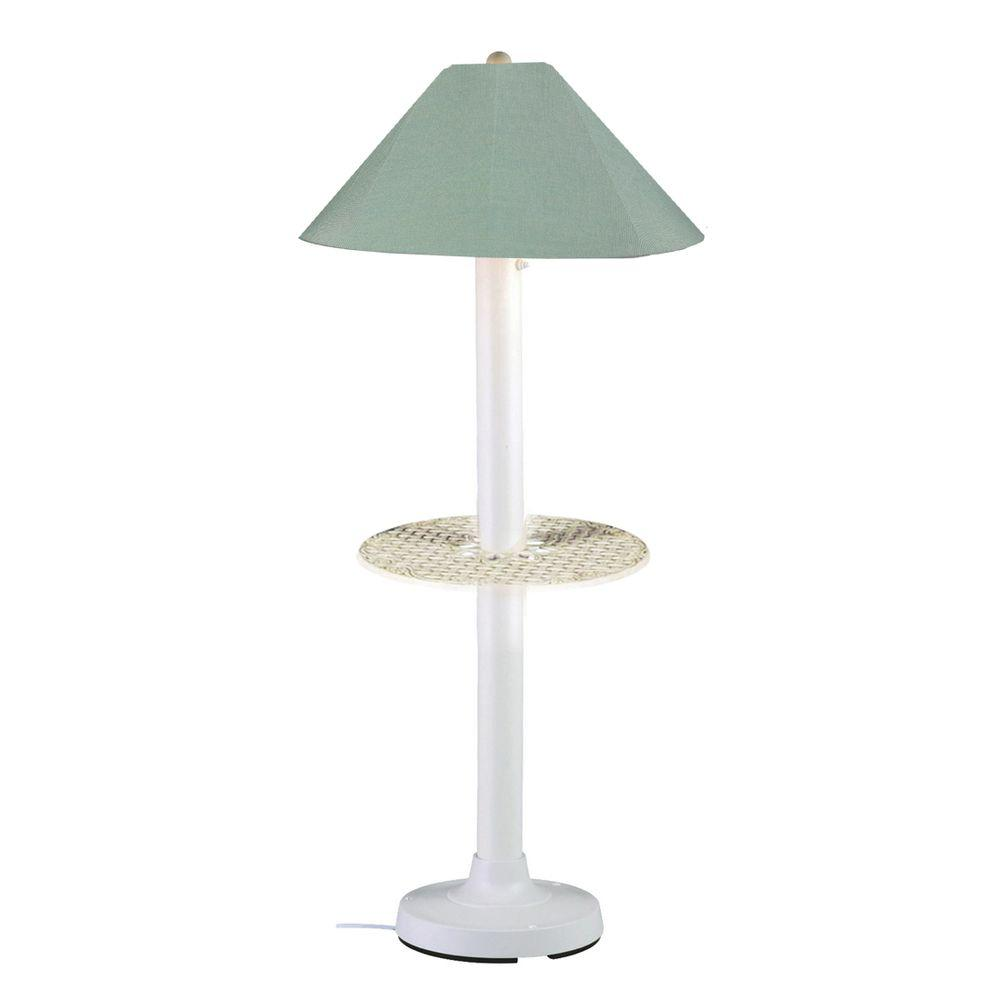 Patio Living Concepts Catalina 63.5 in. White Outdoor Floor Lamp with Tray Table and Spa Shade