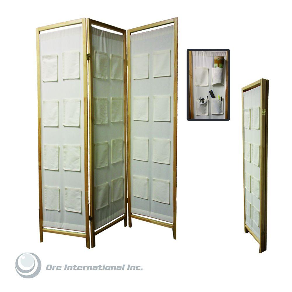 Home Decorators Collection 3-Panel Fabric Room Divider with Pocket Holders