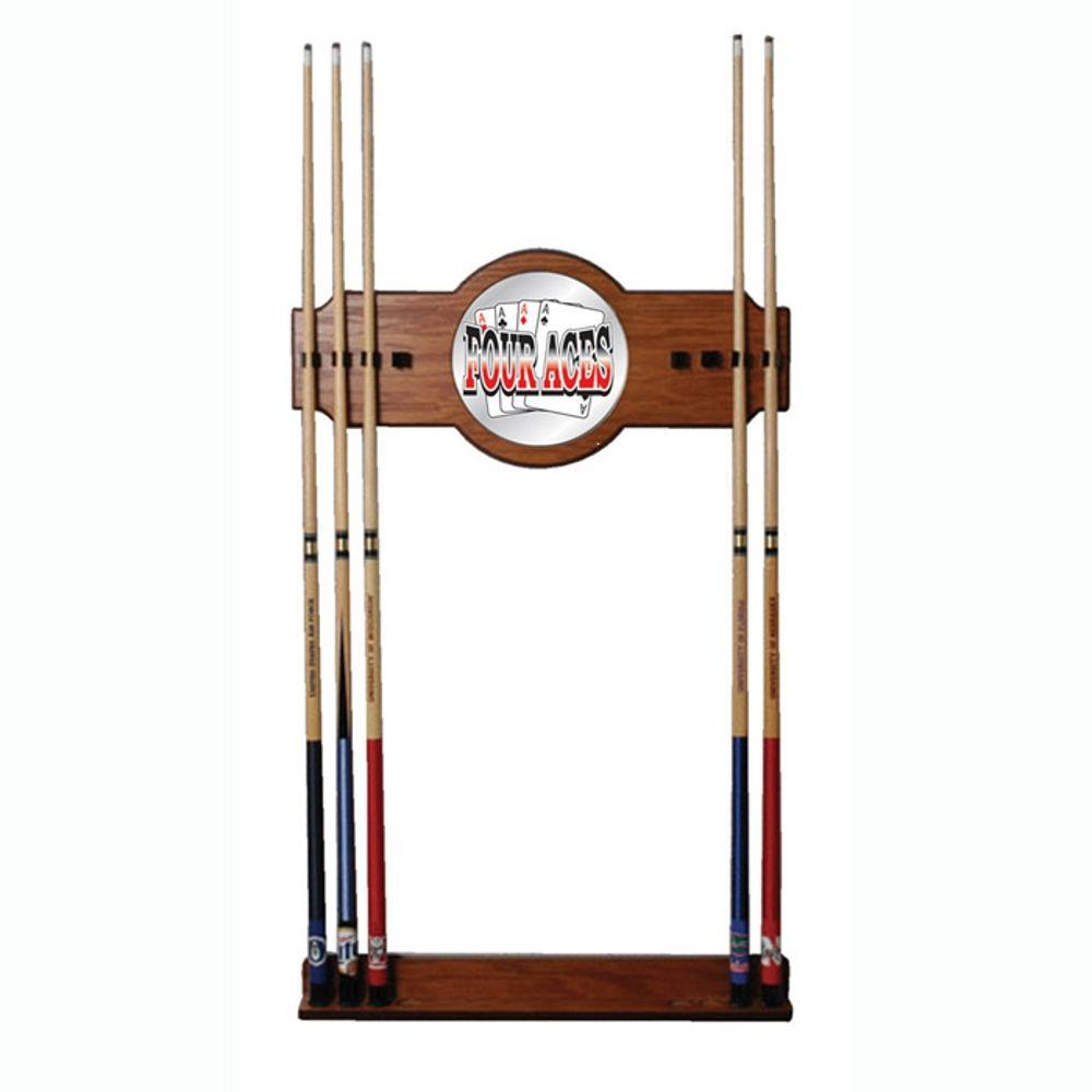 Trademark Four Aces 30 in. Wooden Billiard Cue Rack with Mirror-FA6000