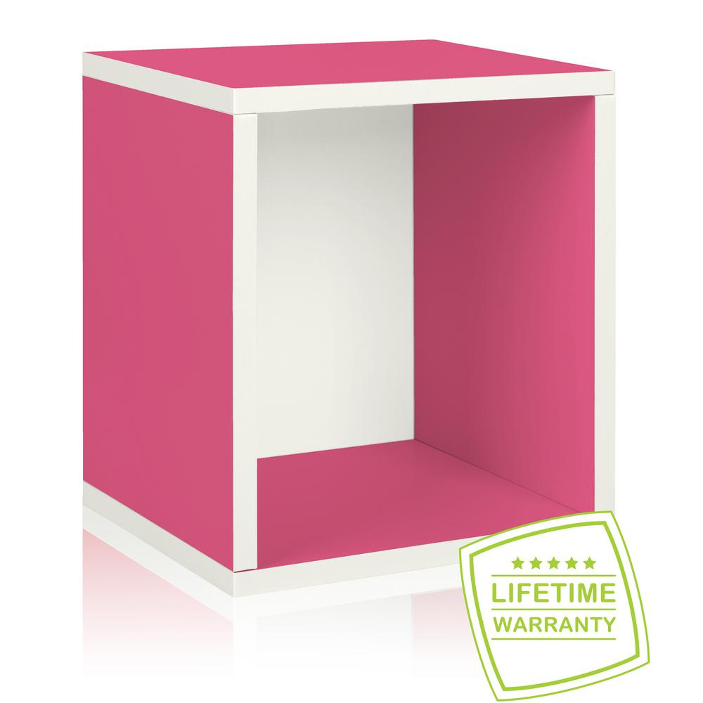 Way Basics Eco Stackable zBoard Paperboard 11.2 x 13.4 x 12.8 Tool-Free Assembly Tall Storage Cube Unit Organizer in Pink