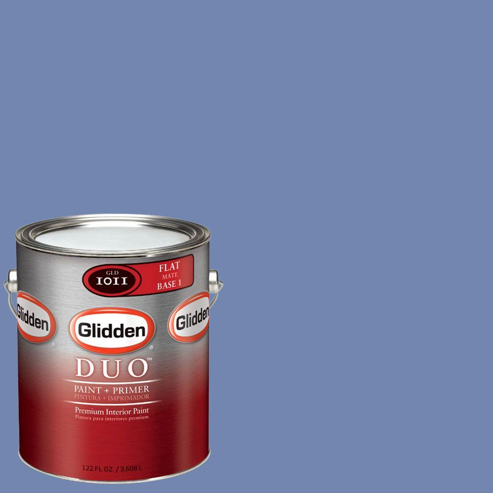 Interior Paint, Exterior Paint & Paint Samples: Glidden DUO Paint 1-gal. # Purple Periwinkle Flat Interior Paint with Primer GLV01-01F