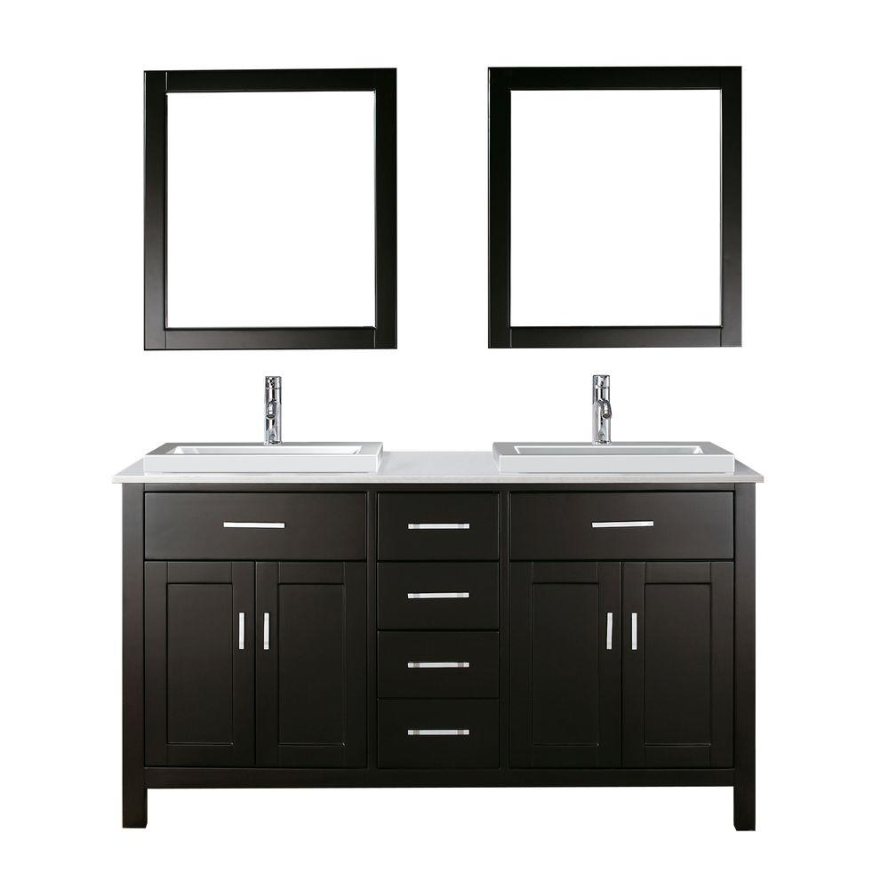 Studio Bathe Kelly 63 in. Vanity in Espresso with Solid Surface Marble Vanity Top in Carrara White and Mirror