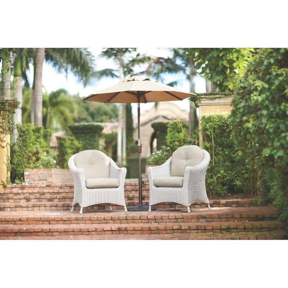 Lake Adela Patio Bone Chat Chairs with Wheat Cushions (2-Pack)
