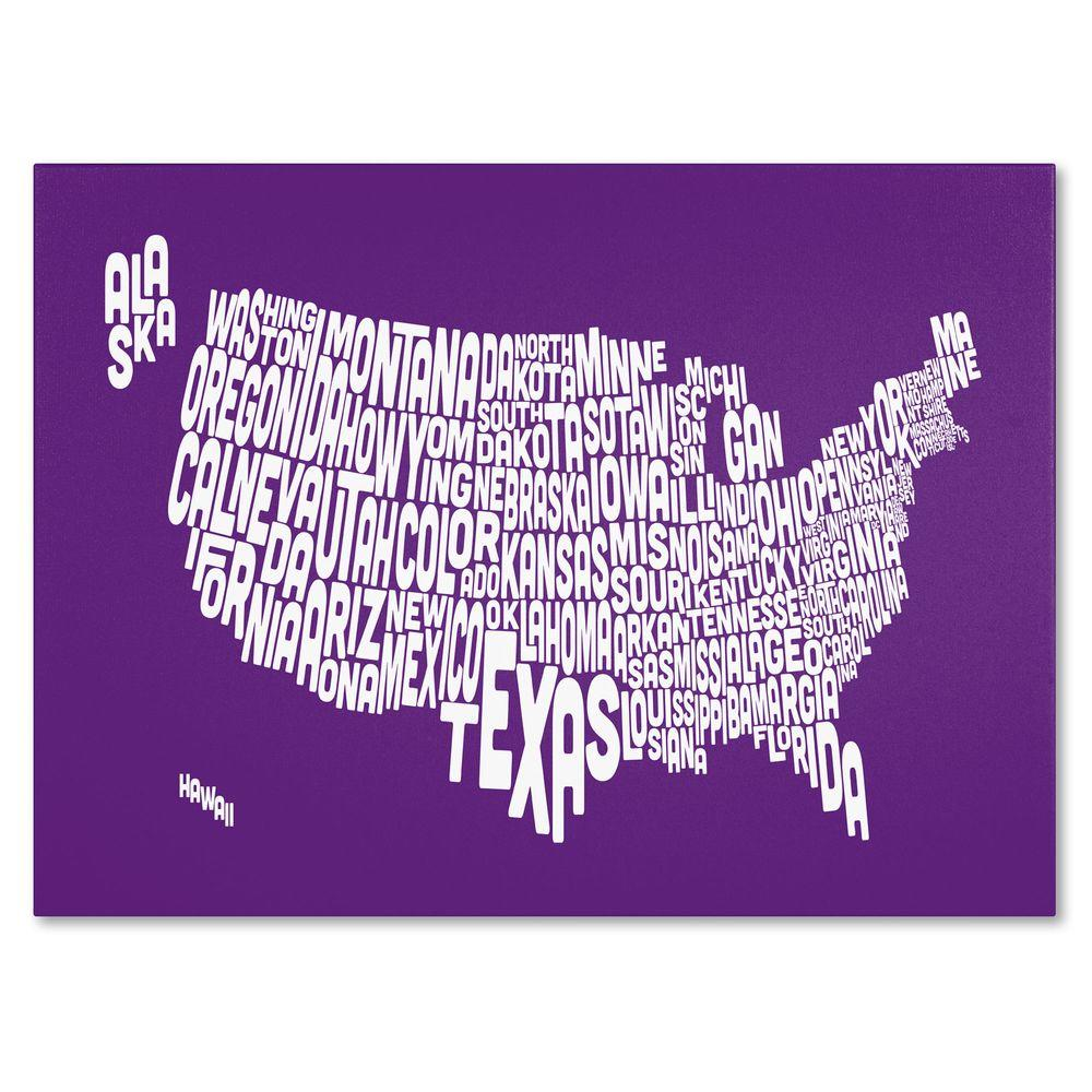 null 16 in. x 24 in. USA States Text Map - Purple Canvas Art